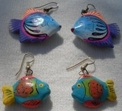 Wooden Fish Earrings 2 Pr Painted in Houston, Texas