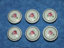 6 Pink Rose Drawer pulls with Gilded Ring in Aurora, Illinois